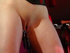 Slave with weights on her pussy
