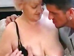 Busty Granny in Stockings Loves Cock