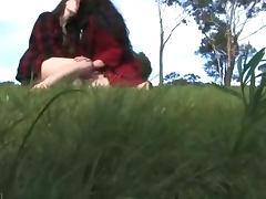 Aussie hairy hippies make love outdoors