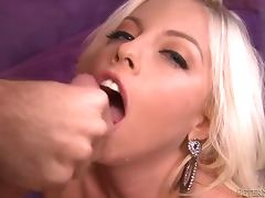 Britney Amber gives a blowjob and a titjob combo to a lucky dude