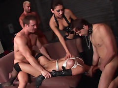 Jennifer Dark being banged by a gang of guys