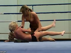 Nude Blondes Fighting Naked In A Ring