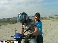 Gorgeous Teen Brunette Amateur Fucked Outdoors on a Bike