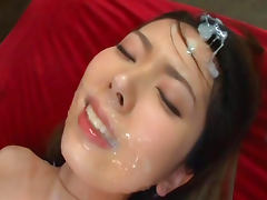 Stunning Japanese babe Yui Hatano is getting tones of hot sperm