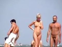 Horny couple is caving fun on the nudist beach