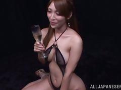 Sexy Kokomi Sakura sucks dicks and gets her mouth filled