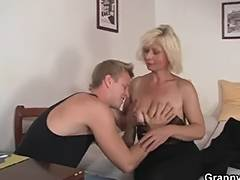 Older blond takes it from behind