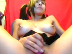 Tattooed Asian emo shows her natural tits