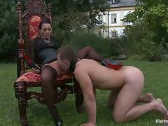Brunette Bitch Sandra Romain Fucks a Dude's Butt Outdoors with Strapon