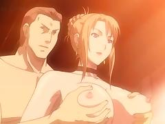 Anime threesome with naked big titted hottie
