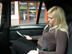 Amateur fucked in a fake taxi in a public place