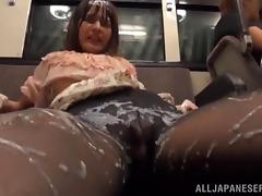 japanese slut gets covered in cum on the train