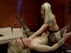 Ashley Fires licks mistress' toes and gets toyed hard