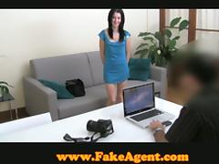 Slim brunette girl gets her shaved pussy drilled at the interview