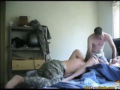 Army Guys Share A Chubby Nympho