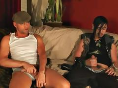 A goth guy jerks off and then cums on another guy