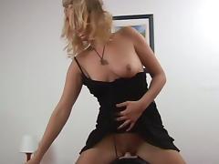 Nasty blonde momma rides a fuck machine