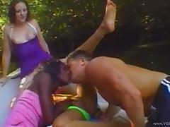 Three hot bitches get fucked by a horny man in the garden