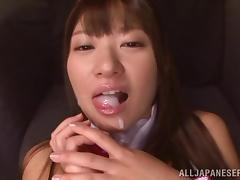 japanese bunny opens her legs and eats cum