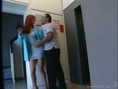 Slutty Redhead MILF Gets A Mouthful Of Cum In The Elevator