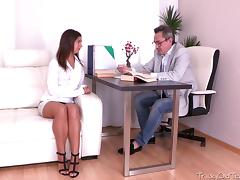 Being young and inexperienced Maia thinks she wants to suck her teachers cock more often