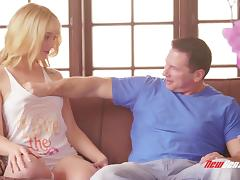 Charming blonde Lucy Tyler blows and enjoys it deep in her pussy