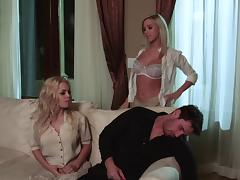 A pair of blonde sluts take cumshot after blowjob and hardcore cock riding in FFM threesome
