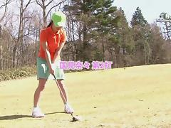 Sexy cute girls loves sucking her golf instructor's cock